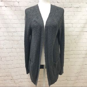 American Eagle Grau Open Cardigan Lace Up Shoulder